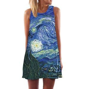 Van Gogh starry nights watercolor shift dress S/M